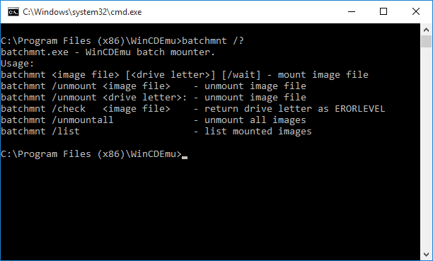 Tutorial: Using WinCDEmu from command line